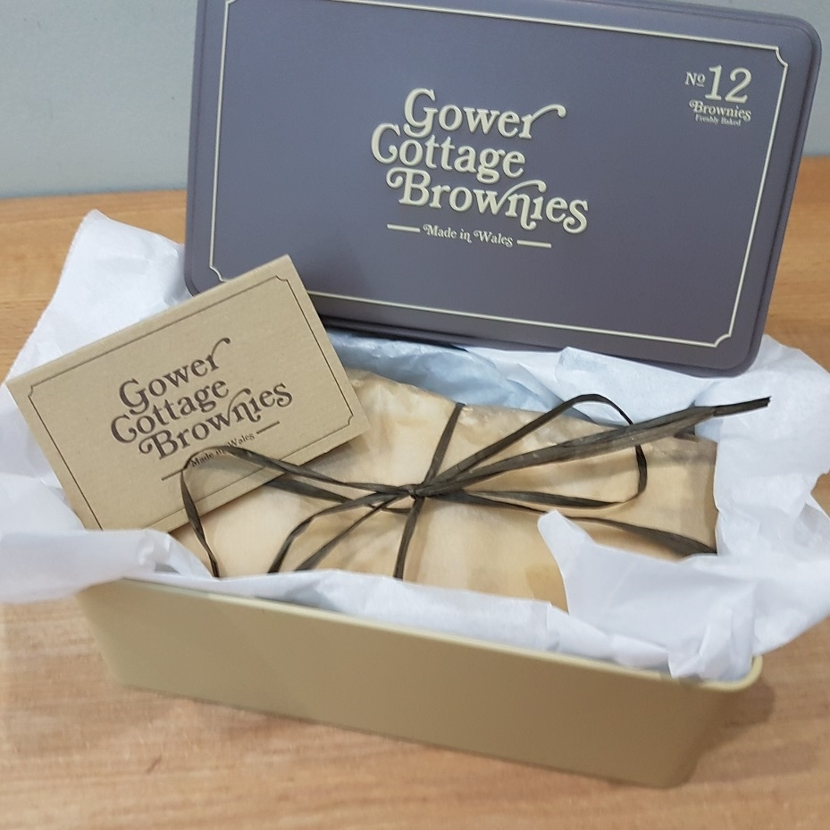 Gluten Free Gower Cottage Brownies in a presentation tin