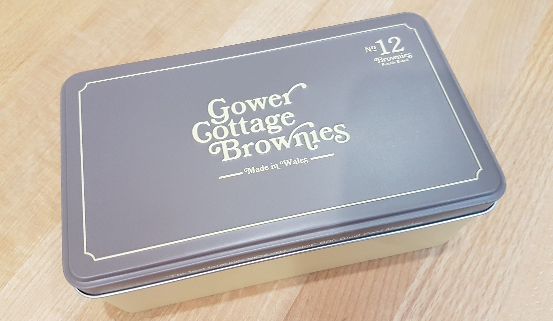 Chocolate Orange Gower Cottage Brownies in a presentation tin