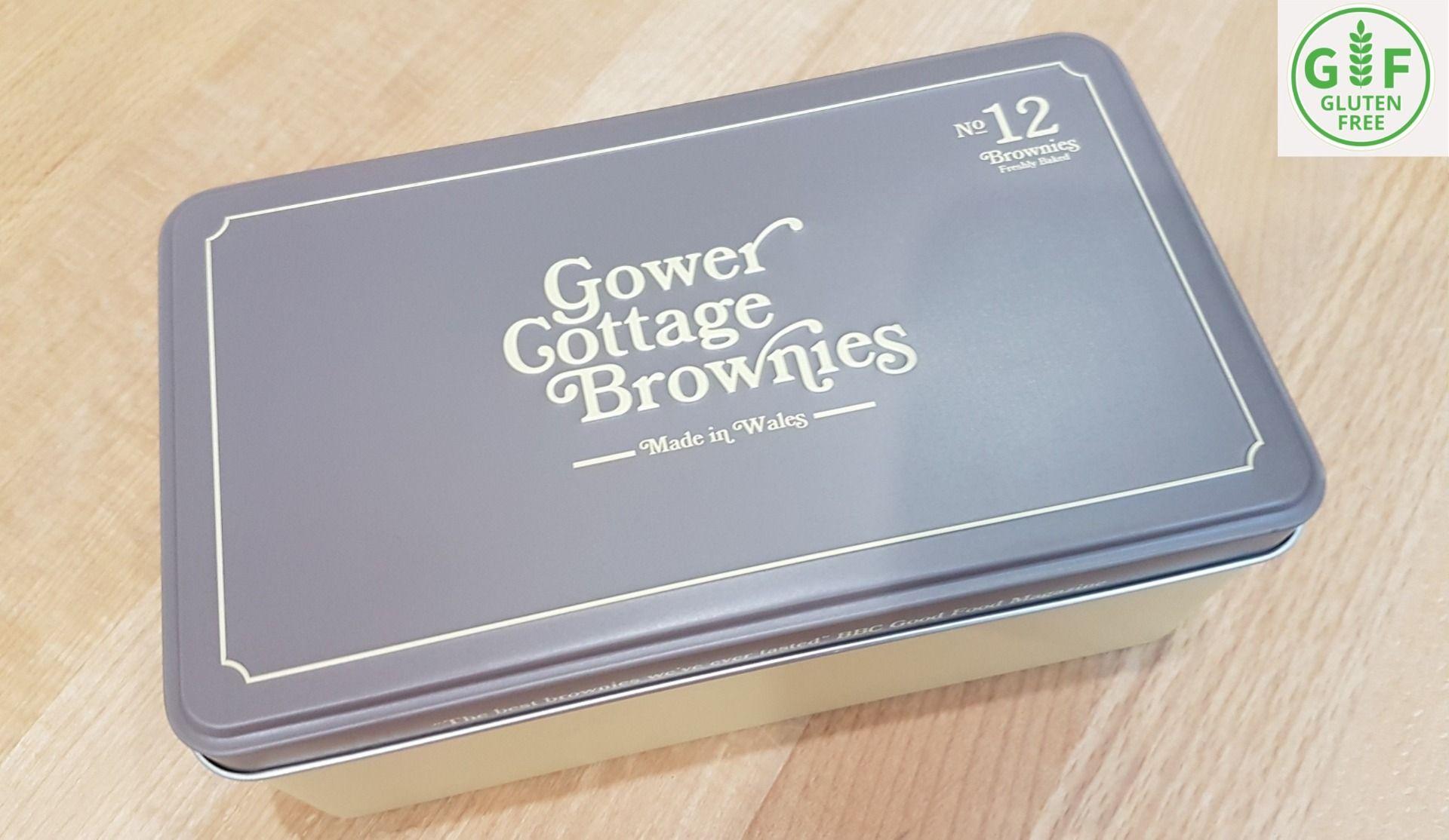 Gluten Free Chocolate Orange Brownies in a presentation tin